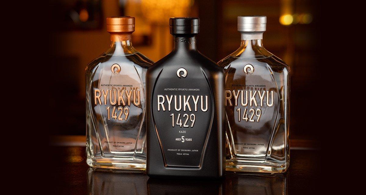 Ryukyu 1429 Authentic Awamori – L-R: Tsuchi, Kaze, Mizu